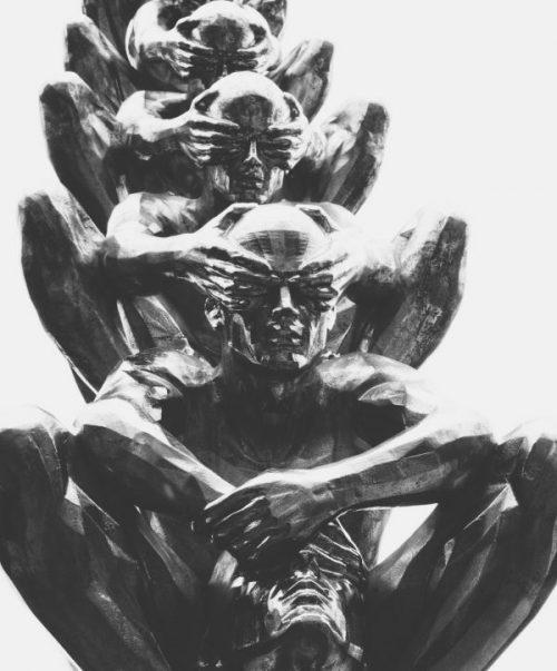 Jouons dans le noir illustré par des hommes dessinés au papier à crayon qui se cachent les yeux les uns les autres en boucle, jeux de cohésion dans le noir pour Coézi